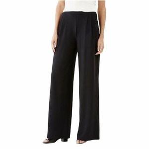 J. Jill Black Wide Leg Flat Front Trousers sz 18
